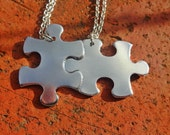 Personalized Puzzle Piece Necklace Set  - Hand Stamped - Create Your Own Necklace Set
