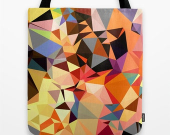 Shoulder Bag, Canvas Tote Bag, Art Tote Bag, Orange Tote Bag, 16 x16 inches