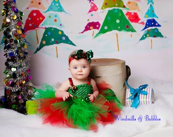 Elf Tutu Dress with elf hair bow or headband.
