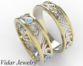 Matching Wedding Band Set,His and Hers Blue Diamond Wedding Band Set,Unique Matching Wedding Band Set In Yellow And White Gold,Two Tone Gold
