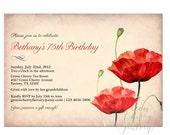 Adult Birthday Invitation - Vintage Peach Background - Adult Birthday - Printable Digital Invitation - No.52