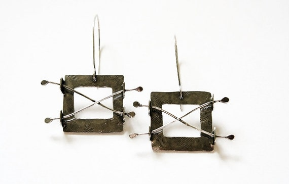 Across the Divide sterling silver earrings, made-to-order (Evolution)