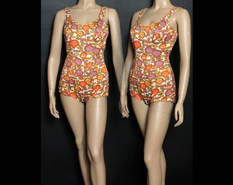 Vintage 1960s Swimsuit Bathing Suit Designer Pool Party Pinup Bombshell VLV Garden Pool Party