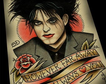 Robert Smith The Cure Tattoo Flash Print
