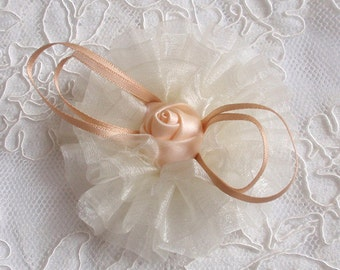 Larger Handmade Flowers (3-1/4 inches) In Cream Y-181-05 Ready To Ship
