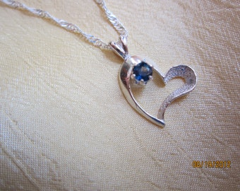 Delicate Heart Pendant Accented with Natural Blue Sapphire