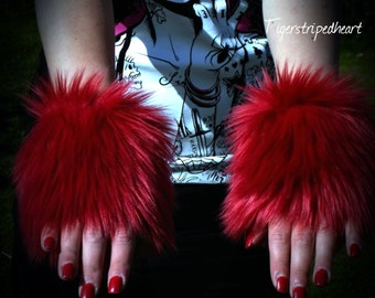 One Luxury Pair of Dark Red Furry Wrist Cuffs Wristlets Cute Cosy Cosplay Elasticated Winter