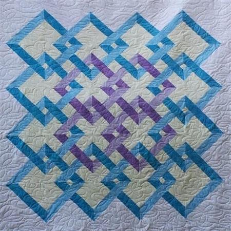 Handmade Patchwork Quilt Interlocking Squares purple / blue