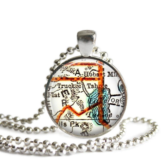 Lake tahoe california map necklace pendant charms lake tahoe for Lake tahoe jewelry stores