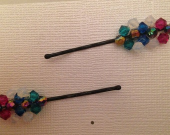 Crystal Beaded Bobbie Pins, Set of 2