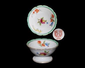 Vintage Noritake Pedestal Floral Hand Painted Open Salt