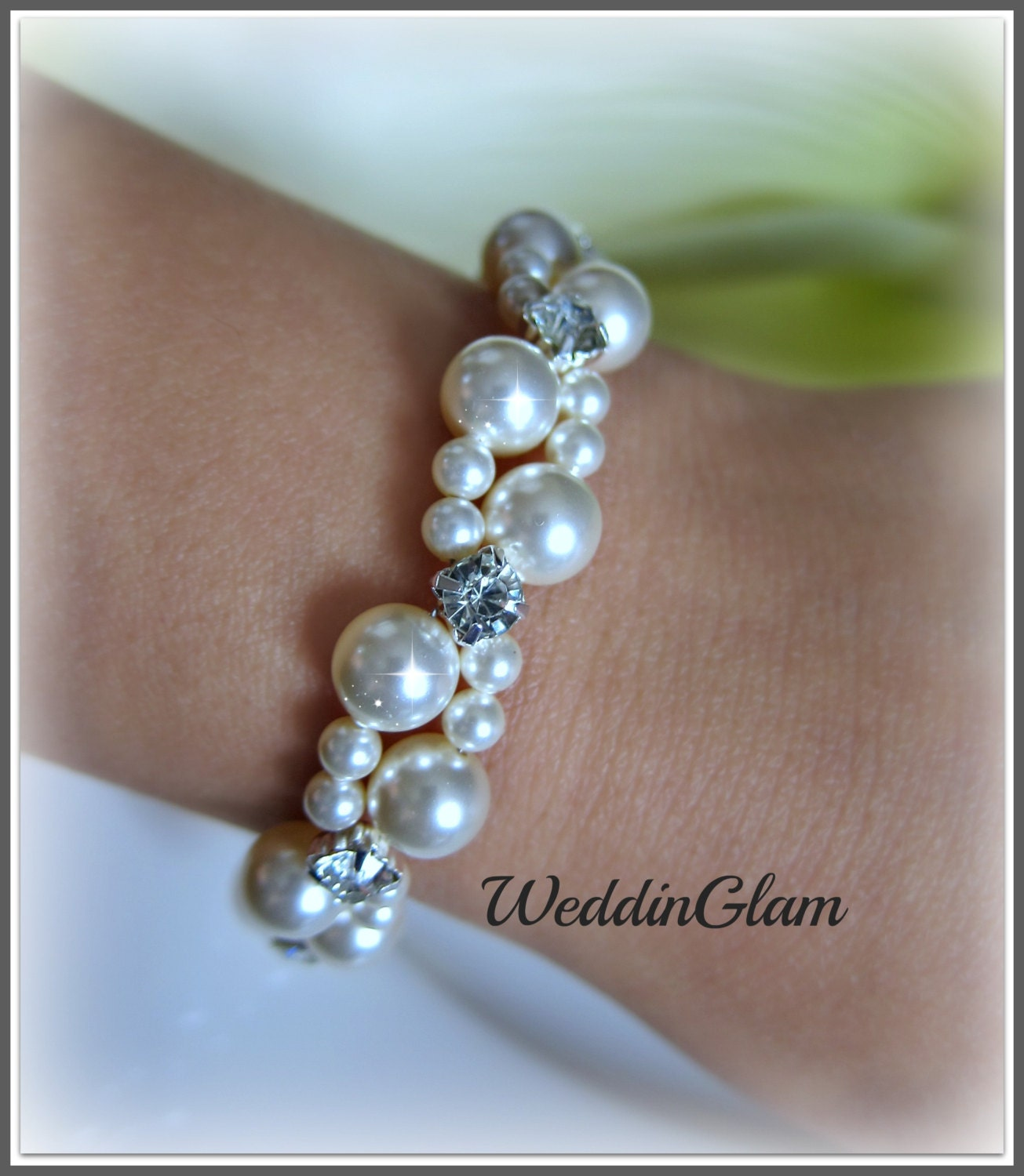 Ivory Wedding Bridesmaid Jewelry Pearl Cluster Bracelet