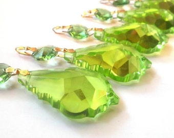 5 Spring Green 50mm Chandelier Crystals French Pendalogue Prisms Light Peridot Green