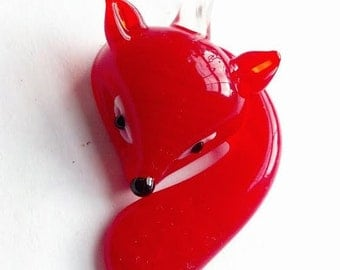 Glass Lampwork Fox Jewelry Supplies Pendant Red Charm Suncatcher