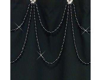 SALE:  Black Pearl....Double Swag Shower Curtain Bling