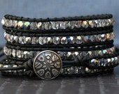black leather and iridescent crystal wrap bracelet - boho gypsy bohemian glam yoga