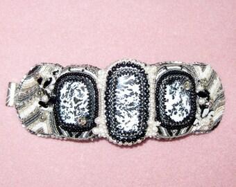 Bead Embroidered Cuff: Quartz with Dendrites