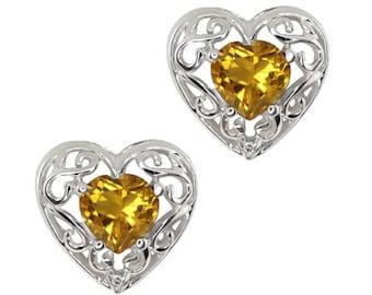 1 Ct Yellow Citrine & Diamond Heart Love Engraved Stud Earrings .925 Sterling Silver Rhodium Finish