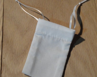 Small Cotton Drawstring Mojo Bag--White