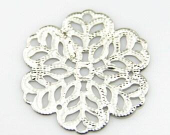 48 pcs of iron filigree charm 27mm-1597-Silver