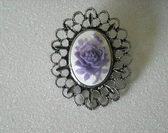 Lavender Rose Antique Silver Brooch or Hair Clip (You Choose)