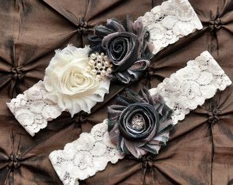 Camo Garter, Bridal Garter Set - Ivory Lace Garter, Keepsake Garter, Toss Garter, Camo Wedding Garter Belt, Hunting Wedding Garter, Army