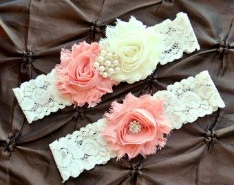 Wedding Garter Set, Bridal Garter - Ivory Lace Garter, Keepsake Garter, Toss Garter, Vintage Peach Wedding Garter Belt, Vintage Peach G