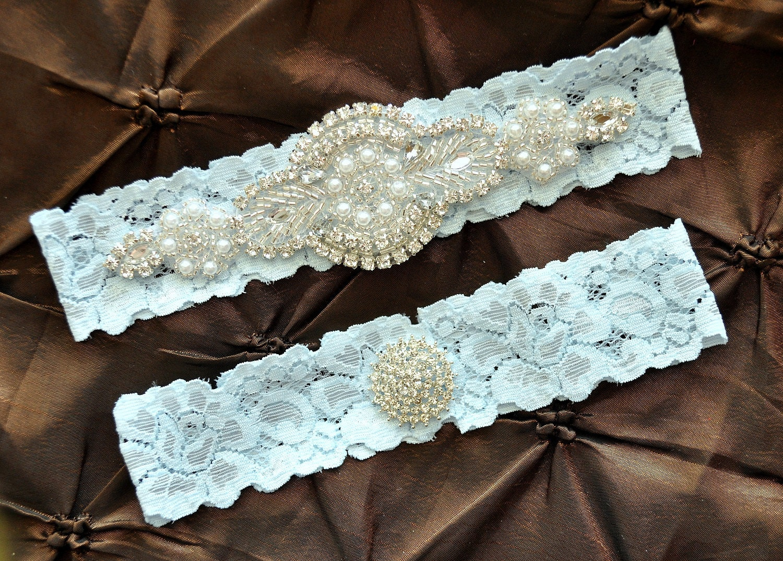 Rhinestone Wedding Garter Crystal Bridal Garter Set Blue