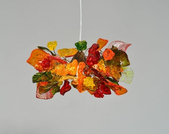 Hanging Lighting with warm color flowers and leaves for hall, bathroom or  as bedside lamp.