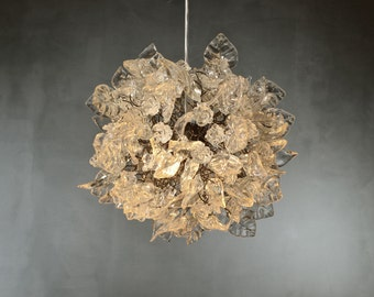 Ceiling Chandelier with clear flowers and leaves for dinning room bedroom, children room lighting or hall .