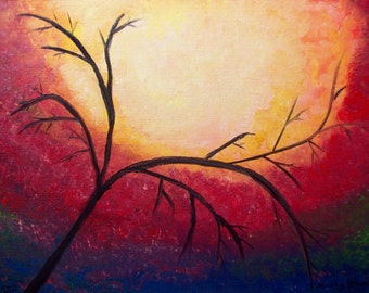 Tree acrylic painting original abstract painting modern abstract painting home decor 16 x 12 inch