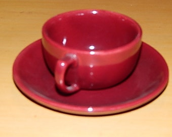 Bauer/Bruche cup and saucer Burgundy Color