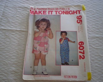 McCall'sToddler One-Piece Clothing Pattern  Size 1/2-4