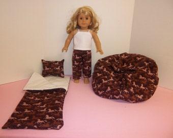 Fits American Girl Doll Horses Sleeping Bag Pillow PJ's And  Bean Bag Set 102 WH