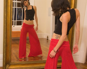 Fashion Red Belle Flare Pants