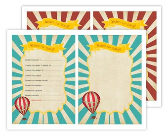 Vintage Hot Air Ballon - INSTANT DOWNLOAD Wishes card For Baby Shower Printable