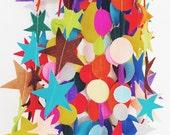 Wool Felt Garland - Rainbow Polka Dots - over 6 feet