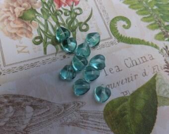 Czech pressed glass heart beads