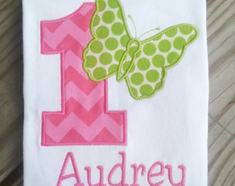 Personalized Butterfly Birthday Shirt. 1st Birthday, 2nd Birthday, 3rd Birthday, 4th Birthday, 5th Birthday.