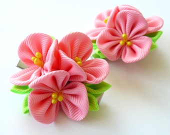 Kanzashi  Fabric Flowers. Set of 2 hair clips.  Pink kanzashi flowers. Pink girl hair clips.