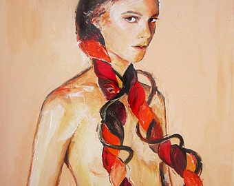 Figure Painting, Woman Portrait, Original Contemporary Art, Stretched Canvas Wall Hanging