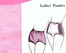 60s Vintage Sexy High Waist Panties Lingerie Sewing Pattern Pin Up Kitten Feminine Lace Trimmed Underwear Retro Sixties  Sizes 4-5-6