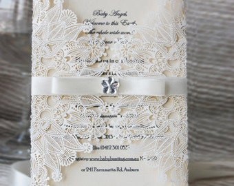 100pcs  lace invitation cards and RSVP card
