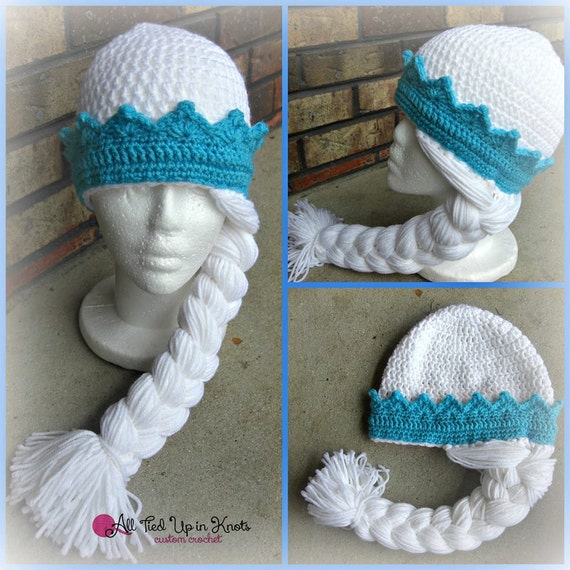 Free Crochet Pattern Frozen Elsa Hat : Items similar to Crocheted Frozen Elsa Inspired Hat on Etsy