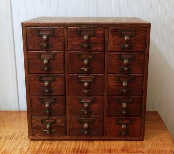 antique oak 15 drawer library bureau sole makers card catalog