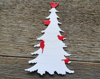White Christmas Trees and Cardinals  Set of 8