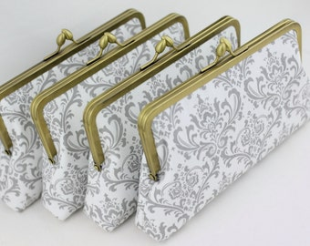 Gray & White Damask Bridesmaid Clutches / Wedding Purses / Floral Bridesmaid Purse Clutch - Set of 6