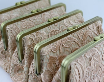 Retro Style Lace Wedding Clutches / Champagne Lace Bridesmaid Clutches / Wedding Gift / Bridal Clutch Set - Set of 5