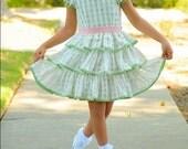 SAMPLE SALE Adorable silk windowpane organza girls dress, green pink trim