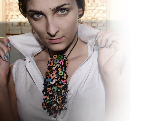 Vivid  colorful necktie/necklace, handmade of natural leather and appliqued with hundreds beads, extravagant necktie, appliqued necktie